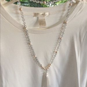 Blue Grey Glass Mala Necklace